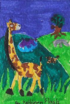 Nfac Original ACEO Nibblefest Art Drawing Africa Giraffe by Kathleen Flask   eBay