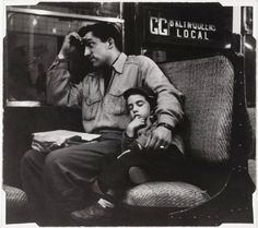 Lou Bernstein,father and son on subway,1958