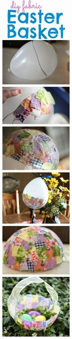 To Make Fabric Easter Baskets Adorable Fabric Collage Easter Basket made with a balloon!Adorable Fabric Collage Easter Basket made with a balloon! Spring Crafts, Holiday Crafts, Holiday Fun, Hoppy Easter, Easter Eggs, Easter Table, Crafts For Kids, Arts And Crafts, Diy Crafts
