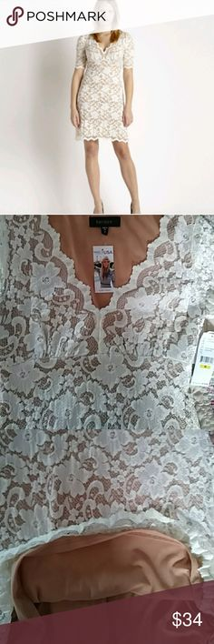 "NWT Country Charm Karen Kane Lace Dress. NWT Country Charm Karen Kane Lace Dress. Stretch. Fully lined. Fits size 8-10 ladies. Nude lining. Wear with heels, booties, boots or sandals. Pit to pit 18"" length from top back center to hem 35"" waist 15"" allmeasurements taken laying flat Karen Kane Dresses"