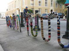 Knitting for a bike rack - knit a bike gate?