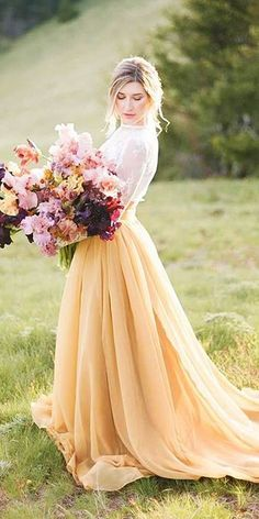 24 Colorful Wedding Dresses For Non-Traditional Bride ❤ See more: http://www.weddingforward.com/colourful-wedding-dresses/ #wedding