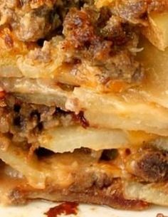 Meat and Potato Casserole with Cream of Mushroom and Cheddar Cheese