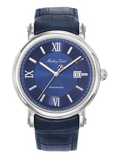 Renaissance men's watch with blue dial and leather band Renaissance Men, Sapphire Bracelet, Bleu Marine, Watch Brands, Modern Classic, Stainless Steel Case, Omega Watch, Watches For Men, Band