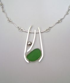 Sea Glass Jewelry  Sterling Green Sea Glass by SignetureLine, $125.00