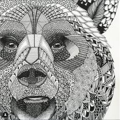 Highly detailed abstract wolf illustration Wall Mural ✓ Easy Installation ✓ 365 Days to Return ✓ Browse other patterns from this collection! Zentangle Drawings, Zentangle Patterns, Doodle Drawings, Animal Drawings, Doodle Art, Doodles Zentangles, Zentangle Animal, Pencil Drawings, Wolf Illustration