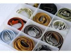 rolled belts in drawer dividers