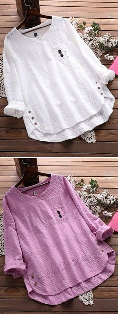71dd181210e Embroidery Cat Hollow Out Loose Cotton Shirt for Women can cover your body  well