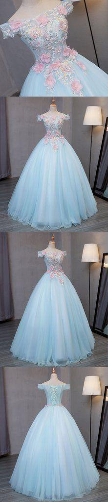Sky blue tulle princess off shoulder long formal prom dress, long strapless pink flower appliqués evening dress G252