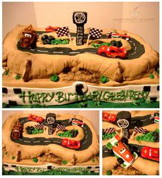 Cars Theme Cake (Toys were provided by customers) But the Francesco at the bottom right hand corner was made by me. ;)