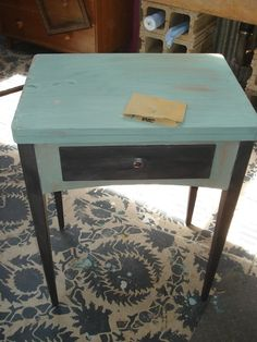 During - the #antiquesewingtable #upcycle with #milkpaint