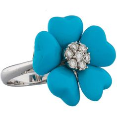 Pre-owned Turquoise Petal Flower & Diamond Ring ($475) ❤ liked on Polyvore featuring jewelry, rings, accessories, blue, turquoise flower ring, turquoise heart ring, blue diamond ring, heart shaped rings and 18k diamond ring