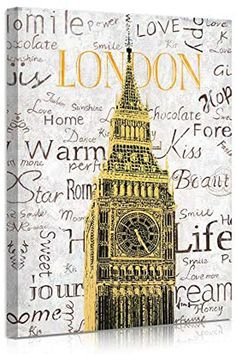B BLINGBLING London City Canvas Wall Art, Gold Big Ben Clock Building with Inspirational Words Picture, Modern Famous Landmarks Framed Canvas Print for Bedroom Home Office Decor 12″x16″ Framed Canvas Prints, Canvas Frame, Canvas Wall Art, Oil Painting On Canvas, Oil Paintings, Watercolor Paintings, Beautiful Art Pictures, Big Ben Clock, Famous Landmarks