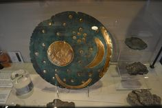 THE NEBRA SKY DISC: a 3,500 year patinated bronze and gold object said to the the oldest representation of the cosmos in the world and the earliest portable device to measure the angle of the sun and moon at the solstices. Made in Germany between 1600 and 1500 BC, it and a master copy of the sky disc are kept in the Archaeology Museum of Saxony-Anhalt in Germany. The disc helps to demonstrate that as early as 3,500 years ago - and perhaps even earlier - Bronze Age merchant sailors from Cornwall were trading the county's rich mineral resources with continental Europeans. Testing of the disc has shown that the tin in the bronze and the gold that illustrates the sun, moon and stars (perhaps the Pleiades) came from Cornwall - the gold from Carnon Down Mines along the Carnon River and the tin from elsewhere in Cornwall.     ✫ღ⊰n
