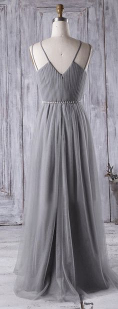 US$140.59-Sexy Criss Cross Spaghetti Straps Pleated Chiffon Long Long Grey Bridesmaid Dress. https://www.doriswedding.com/criss-cross-spaghetti-straps-pleated-a-line-chiffon-long-dress-pET_329080.html.  Find the best bridesmaid dresses at DorisWedding. We have all styles & colors, such as purple, gold, red & lace, country and country. #DorisWedding.com
