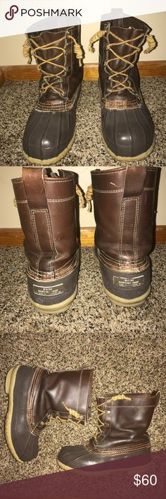 Brown L.L. Bean Duck Boots Bean boots. Duck boots. Brown on brown. No lining. Wear on soles at the heel.  Great used, vintage condition. Leather is soft. Rubber is not cracked. Purchased on Posh-- no where near a women's size 6! 🙂 My husband tried these on. He wears a 9.5 or 10 and his toe was at the end...I'm super bummed but my loss is your gain! I purchased insoles and added them to the boot. Feel free to ask questions... I will do my best to answer them. L.L. Bean Shoes Boots
