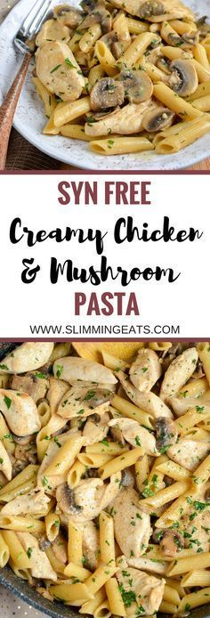 Slimming Eats Syn Free Creamy Chicken Mushroom Pasta - gluten free, Slimming World and Weight Watchers friendly Slimming World Dinners, Slimming World Diet, Slimming Eats, Slimming Recipes, Slimming World Lunch Ideas, Actifry Recipes Slimming World, Slimming World Recipes Syn Free Chicken, Slimming World Chicken Casserole, Slimming World Chicken Dishes