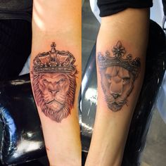 Our tattoos we got on our 3rd wedding anniversary!  King and Queen lion on our forearm ❤️