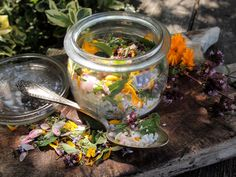 Culinary Flowers and Herbs Preserved in Salt (recipe)