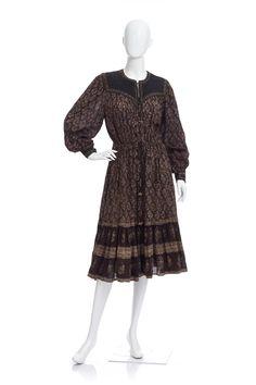 Vintage 70's Indian Cotton Gauze Ethnic FLORAL Bib Waist Ties Puff Sleeves Hippie Boho Festival Tiered Midi DRESS by CultofAphrodite on Etsy