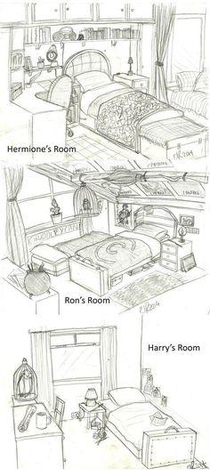 Read Chambre Hermione/Ron/Harry from the story image/meme Harry Potter 2 by JadeKraak (Jadisse) with 145 reads. Harry Potter Hermione, Harry Potter Fan Art, Harry Potter Humor, Mundo Harry Potter, Harry Potter Bedroom, Harry Potter Universal, Harry Potter World, Hogwarts, Vanishing Point