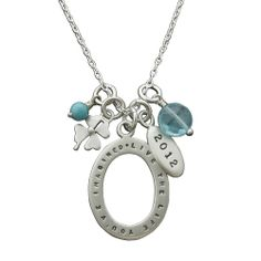 """Sterling Silver Personalized Graduation Necklace, 18"""" Graduation Necklace, Graduation Gifts, Four Leaf Clover, Personalized Necklace, Turquoise Beads, Washer Necklace, Quartz, Chain, Sterling Silver"""