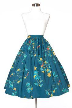 Pinup Girl Clothing - Jenny Skirt - Leaves Print | Pinup Girl Clothing