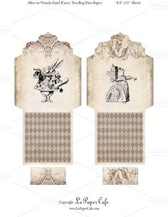 tea bag envelopes | digital tea bag envelopes with tags featuring 2 different alice in ...