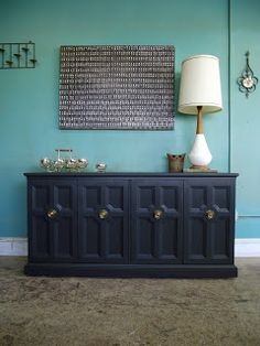 Vintage Ground: Vintage Deep Gray Buffet / Sideboard / Media Stand