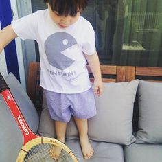My tennis player with his new short PJ set by @mytwinsgr  #tennis #mytwins #pacman #mytwinscollection #pajamas #summer #twinsfashion