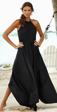 Dress To Impress With Black Maxi Dress 21 Black Women Fashion, Look Fashion, Womens Fashion, Beach Fashion, Luxury Fashion, Lady Luxury, Petite Fashion, Retro Fashion, Korean Fashion