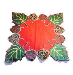 Vintage Autumn Leaves Scalloped Edge Large Hankie by Morning Glorious Vintage on Etsy