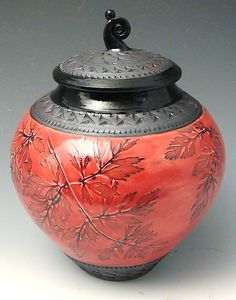 Small Red Lidded Urn with Fiddlehead Knob: Suzanne Crane: Ceramic Vessel - Artful Home