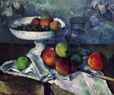 Still-Life with Compotier - Paul Cezanne Art Reproduction Cezanne Art, Paul Cezanne Paintings, Fruit Painting, Painting Prints, Canvas Prints, Spray Painting, Caravaggio, Camille Pissarro, Cezanne Portraits