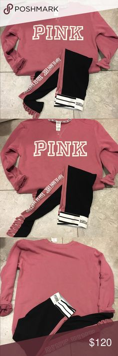 """💕VS PINK MAUVE Pullover💦selling set VICTORIA'S SECRET """"PINK"""" BOYFRIEND PULLOVER SWEATSHIRT  BRAND NEW tags attached Please note: The color of the sweatshirt may be a little different than in the picture. It is hard to capture the exact color 100% AUTHENTIC    SIZE:Medium M   COLOR: MAUVE  The Half-Zip pullover you love in a slouchier, oversized fit! Fall in love with the Boyfriend update in soft fleece that's perfect for layering.   """"PINK"""" on front Mockneck S Easy fit Imported…"""