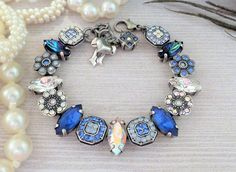 Rhadsody,Swarovski Crystal Embellished Bracelet, Blue, Handset, Navettes, Sapphire, Navy,AB,DKSJewerlydesigns,FREE SHIPPING