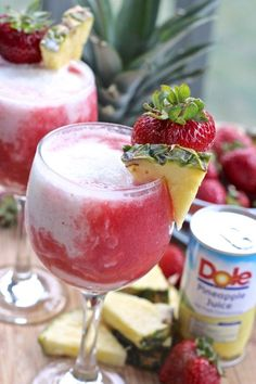 strawberry pina colada mocktail #ad #sk #kingofjuices