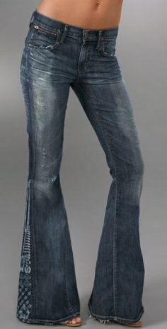 flare jeans ~ used to make these, by splitting the seam and adding fabric!