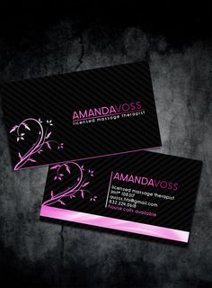 50 best business images on pinterest awesome business cards beautiful massage therapist business cards template designed on black background with nice pinkpurple elements reheart Images