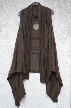Neslay Quirky Chocolate Brown Lagenlook Long Over Tunic Layering Jacket Vest Top | eBay