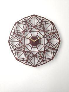 Sapphire Clock. Modern Geometric Laser Cut Wood by SarahMimoClocks, $160.00