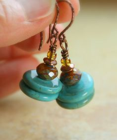 Turquoise and Czech Glass Stacks with Twisted Copper Hoops