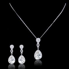Flawless Diamond AAA Zircon Wedding Jewelry Set, Silver Teardrop Earring, Swarovski Crystal Bride Necklace, Bridemsaid Jewelry-172342401