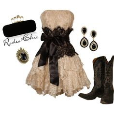 """Cowboys and Angels"" by rodeo-chic on Polyvore, strapless lace dress with cowboy boots, black and white, prom, western, formal"