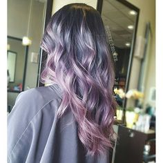 Ashy purple to pink melt hair color colored / dyed hair воло Silver Purple Hair, Blue Grey Hair, Hair Color Purple, Cool Hair Color, Pink Hair, Purple Gray, Purple Dye, Silver Color, Violet Hair