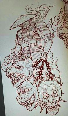 Japan Tattoo Design, Japanese Tattoo Designs, Tattoo Design Drawings, Tattoo Sleeve Designs, Tattoo Sketches, Tattoo L, Dark Art Tattoo, Body Art Tattoos, New Age Tattoo