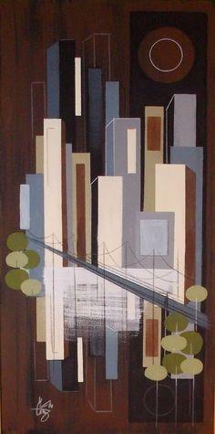 EL GATO GOMEZ PAINTING RETRO 1960'S MID CENTURY MODERN EAMES CITYSCAPE CITY MOD #Modernism