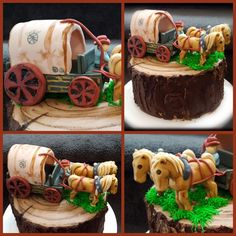 Horse and buggy cake, stampede, wagon, western. Belgium horse team. Birthday cake. Fondant and buttercream wood look.