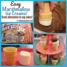 Marshmallow Ice Cream Cones – Paging Fun Mums Marshmallow Ice Cream Cones- cute to send to school instead of messy cupcakes! Yummy Treats, Delicious Desserts, Sweet Treats, Marshmallows, School Treats, School Birthday Treats, Lego Birthday, Ice Cream Social, Ice Cream Party