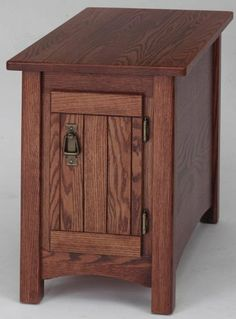 """#902 Solid Oak Mission Storage End Table by Oakfurniture Shop. $574.00. #902 Solid Oak Mission Storage Chair Side Table Size *15"""" wide x 27"""" deep x 22"""" high *Ships completely assembled! Construction *100% Northern Wisconsin Solid Red Oak. *Dado and pocket screw construction. About 50 assembly screws in each table! *NO veneer plywood chip board pressed board or vinyl! *Very solid table!! *Antique Brass drawer pull. *Rear panel (unseen in photo) is a solid panel j..."""
